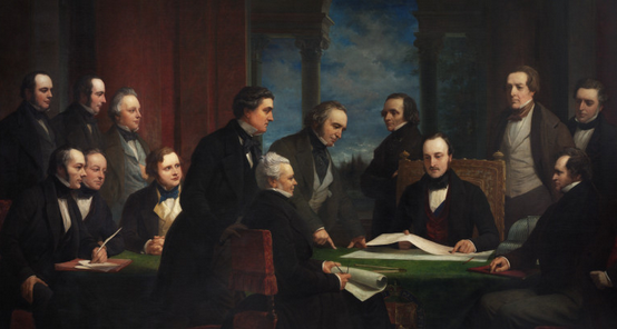 """The Royal Commissioners for the Exhibition of 1851″  By Henry Wyndham Phillips (1820-1868)  Courtesy of the Victoria and Albert Museum"